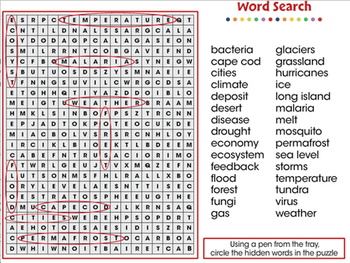 Global Warming EFFECTS: Word Search - PC Gr. 5-8