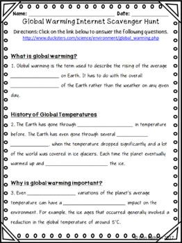 Global Warming Internet Scavenger Hunt WebQuest Activity