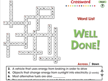 Global Warming REDUCTION: Crossword - PC Gr. 5-8