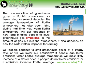 Global Warming REDUCTION: How Warm Will Earth Get? - NOTEBOOK Gr. 5-8