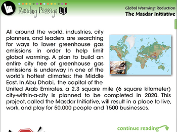 Global Warming REDUCTION: The Masdar Initiative - NOTEBOOK Gr. 5-8