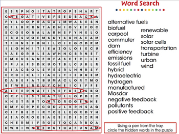 Global Warming REDUCTION: Word Search - NOTEBOOK Gr. 5-8