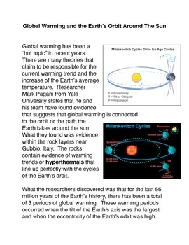 Global Warming and the Earth's Orbit