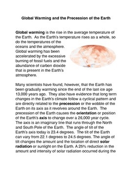 Global Warming and the Precession of the Earth Common Core Activity