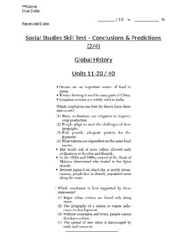Global/World History - Conclusions/Generalizations Skills Quiz 2/4 - Units 11-20