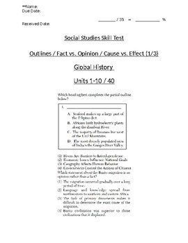 Global/World History - Fact/Opinion/Cause/Effect Skills Quiz 1/3 - Units 1-10