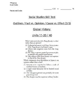 Global/World History - Fact/Opinion/Cause/Effect Skills Quiz 2/3 - Units 11-20