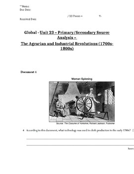 Global History - Primary & Secondary Sources - Agrarian Revolution