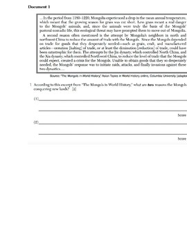 Global/World History - Primary & Secondary Sources - China & the Mongol Empire