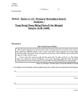 Global/World History - Primary & Secondary Sources - China