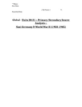 Global History - Primary & Secondary Sources - Fascism, WWII & Genocide