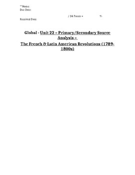 Global/World History - Primary & Secondary Sources - French Revolution