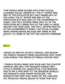 Global/World History - Primary & Secondary Sources - French Revolution KEY