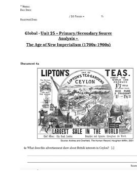 Global/World History - Primary & Secondary Sources - Imperialism & Nationalism
