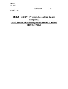 Global History - Primary & Secondary Sources - India: Colony to Partition