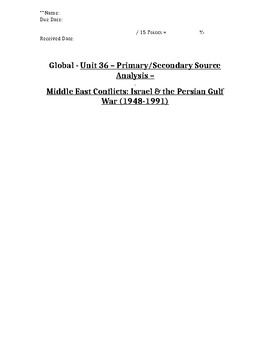 Global/World History - Primary & Secondary Sources - Israe