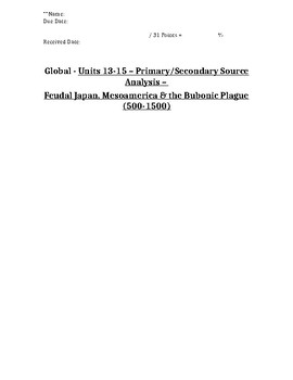 Global History - Primary & Secondary Sources - Japan, Mesoamerica & Plague