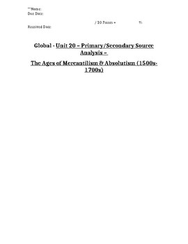 Global/World History - Primary & Secondary Sources - Mercantilism & Absolutism