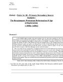 Global - Primary & Secondary Sources - 06/24 - 9th Gr - Renaissance/Exploration