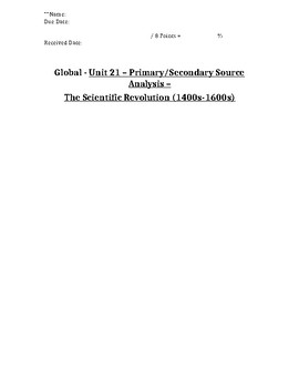 Global History - Primary & Secondary Sources - Scientific Revolution