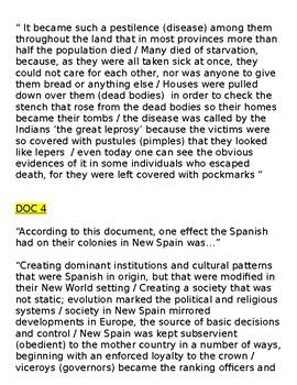 Global/World History - Primary & Secondary Sources - Spanish Empire/Slavery KEY