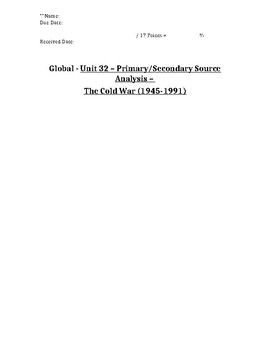 Global/World History - Primary & Secondary Sources - The Cold War