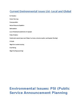Global and local environmental issues public service announcement project