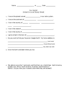 Global to Local Geography Sheet