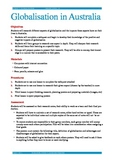 Globalisation in Australia lesson plan