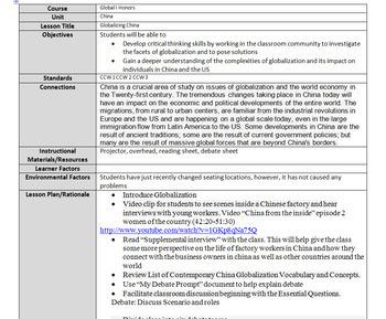 Globalization China Factory -- Class Scenario and Debate