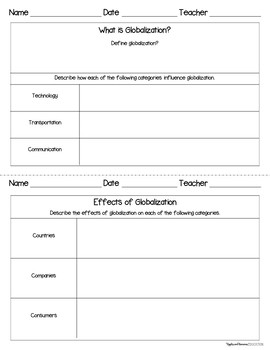 Globalization - Interactive Note-taking Activities