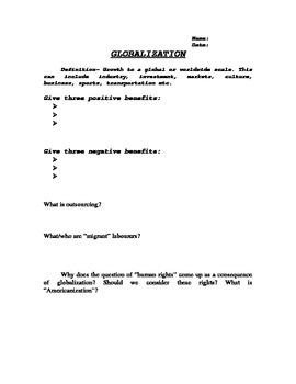 Globalization Worksheet