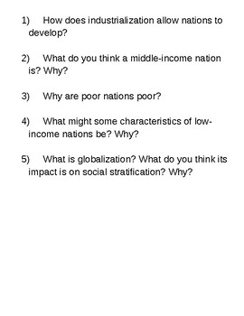 Globalization and Social Stratification Article and Discussion