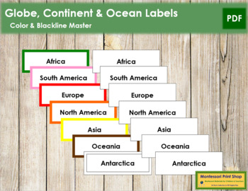 Globe, Continent and Ocean Labels