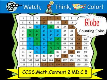 Globe Counting Coins Practice - Watch, Think, Color Mystery Pictures