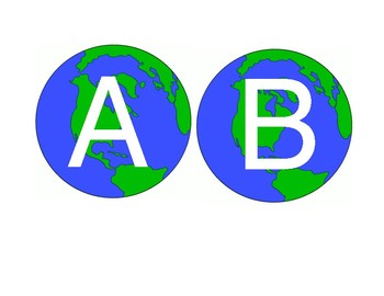 Globe Letters A to Z for Bulletin Boards