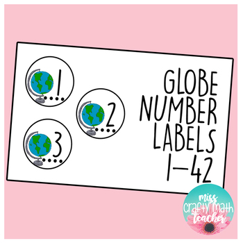 Globe Number Labels 1-42 (Includes Two Different Sizes)