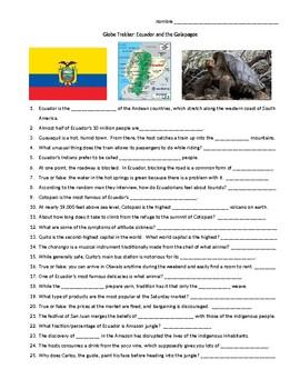 Globe Trekker - Ecuador and the Galapagos - viewing guide worksheet