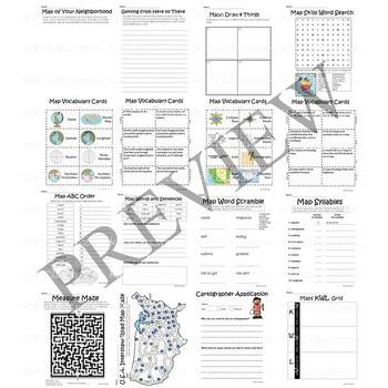 Globe and Map Skills Activity Packet and Worksheets