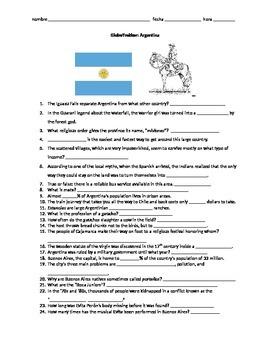 Globe Trekker Argentina viewing guide worksheet