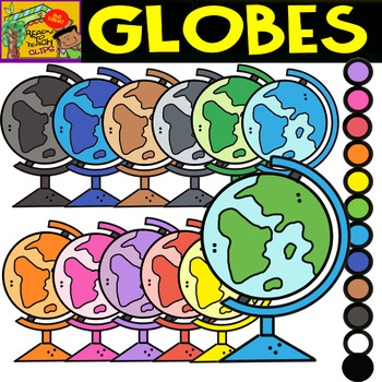 Globes - School Supplies - Cliparts set - 13 Items