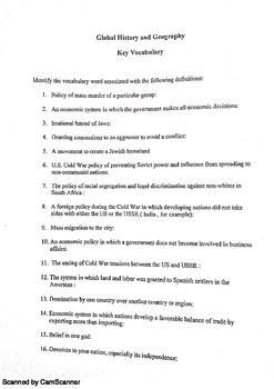 Global Regents Review Sheet