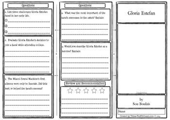 Gloria Estefan Comprehension Foldable