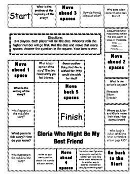 """""""Gloria Who Might Be My Best Friend"""" 2nd grade Journeys comprehension game board"""