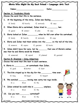 Gloria Who Might Be My Best Friend ~ Language Arts Test ~ 2nd Grade