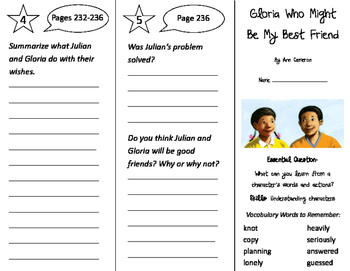 Gloria Who Might Be My Best Friend Trifold - Journeys 2nd Gr Unit 5 Wk 2 (2011)