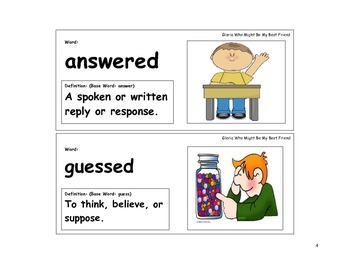 Gloria Who Might Be My Best Friend Vocabulary Cards