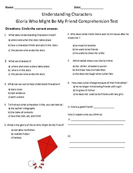 Gloria Who Might Be My Friend Comprehension and Vocabulary Test - Journeys