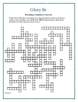 Glory Be: 50-word Prereading Vocabulary Crossword—Use with Bookmarks Plus!