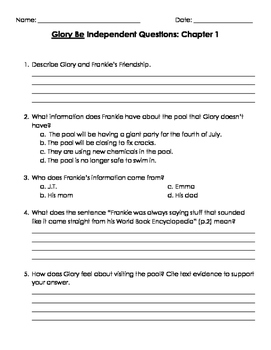 Glory Be Chapter Questions and Writing Prompts